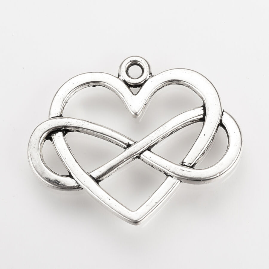 Antikolt ezüst színű végtelen szív fityegő