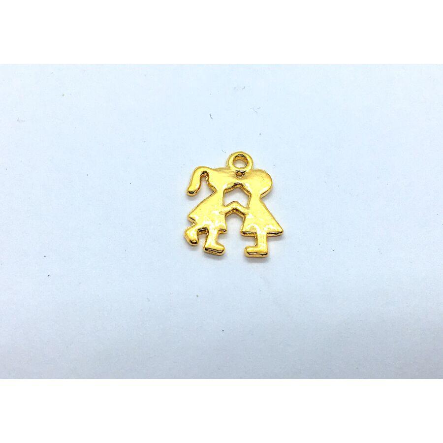 Arany színű kislány-kisfiú fityegő