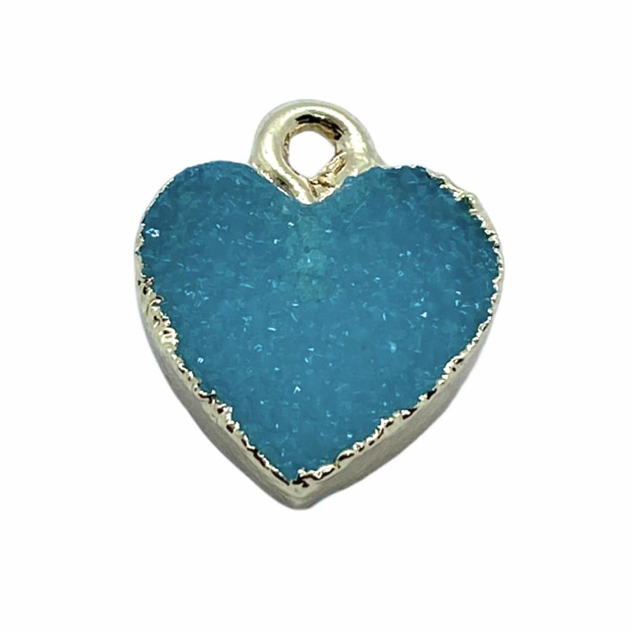 Druzy világos kék gyanta szív fityegő aranyló részletekkel