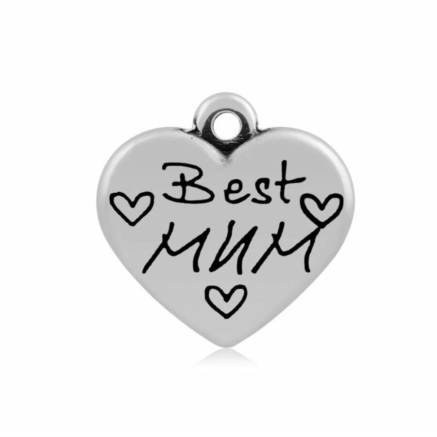 316-os Nemesacél Best mum szív fityegő