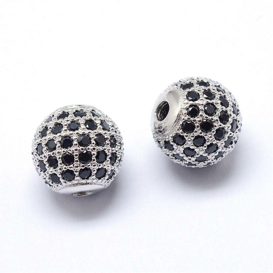 Fekete strasszal díszített ezüst színű cirkónia gyöngy (8mm)