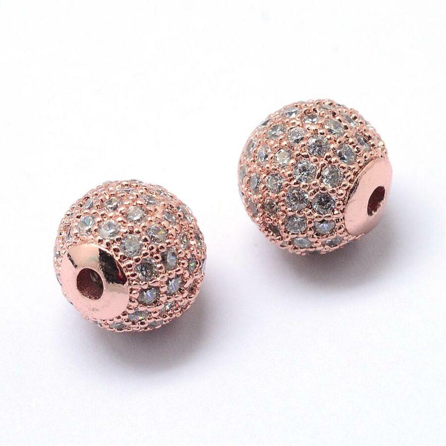 Strasszal díszített rozé arany cirkónia gyöngy (8mm)