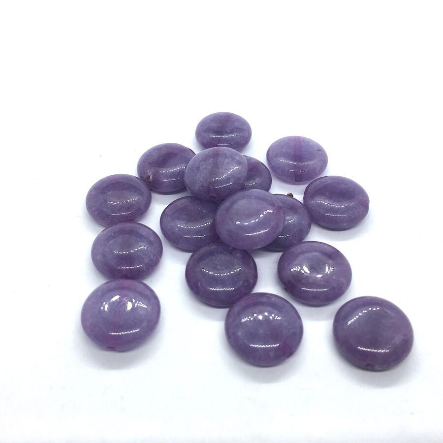 Lila jade lapos ásvány medál (15mm)