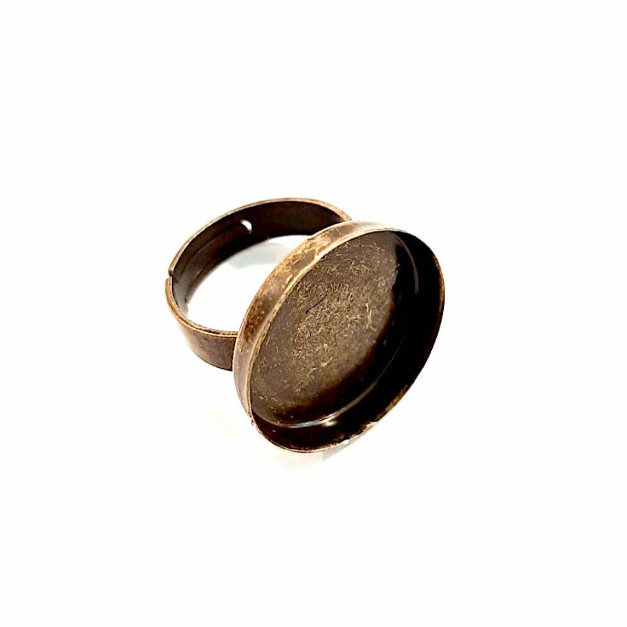 Antikolt bronz színű sima gyűrűalap (20mm)