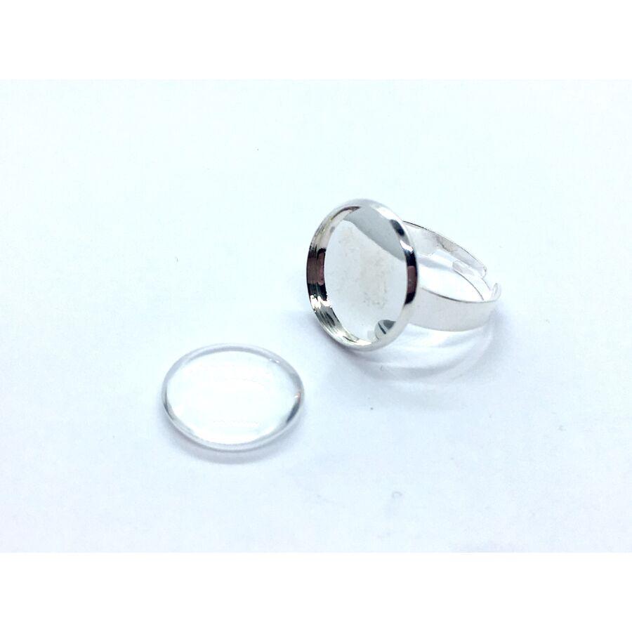 Ezüst színű gyűrűalap (20mm) hozzátartozó üveglencsével