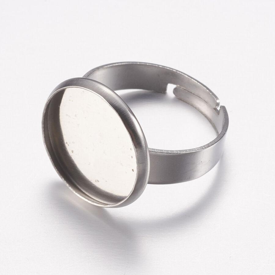 Nemesacél tányéros gyűrűralap (14mm) hozzá tartozó üveglencsével