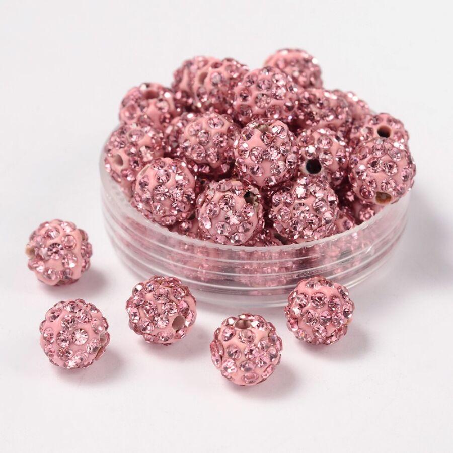 Strasszal díszített rózsaszín gyöngy (8mm)