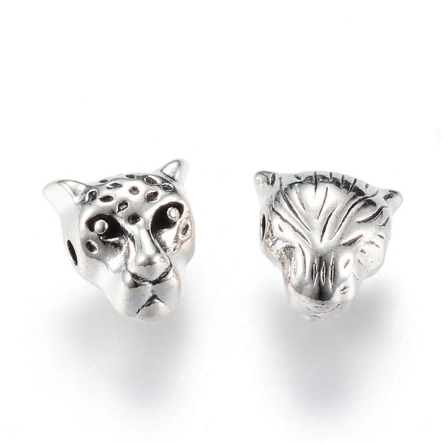 Antikolt ezüst színű leopárd fej alakú gyöngy (10x9x7mm)