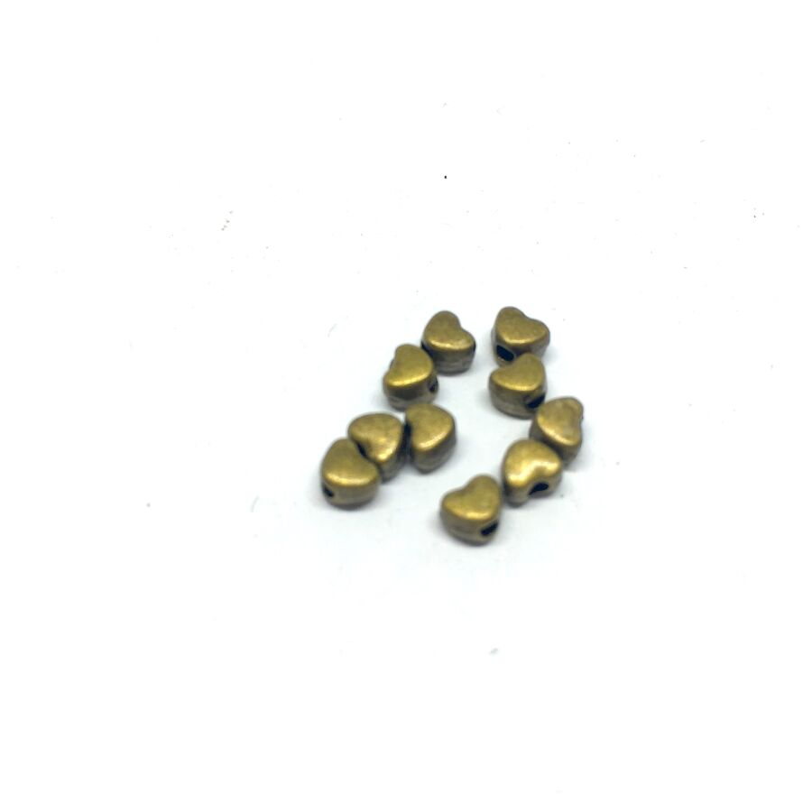 10db Antikolt bronz színű szív alakú köztes gyöngy (3,5x4mm)