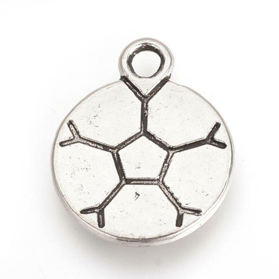 Antikolt ezüst színű focilabda fityegő