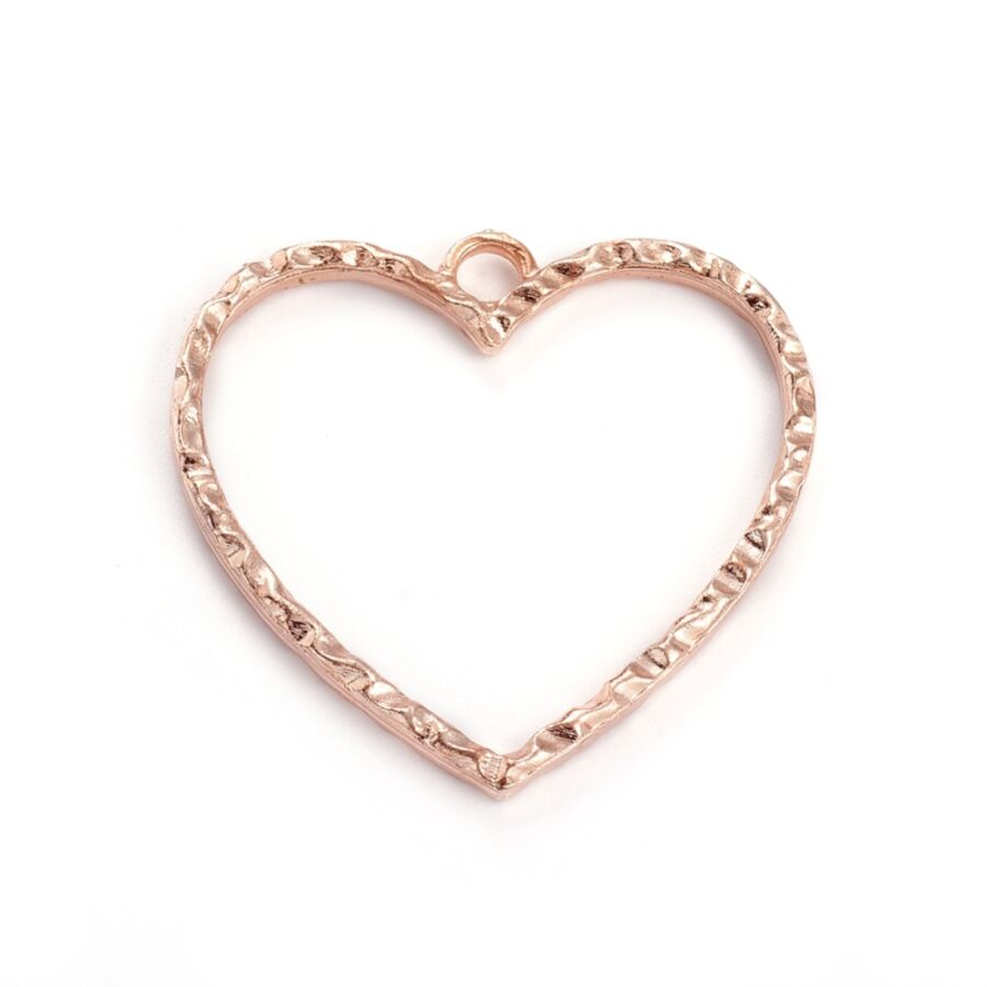 Rozé arany színű szív medál műgyanta öntéshez (28x29mm)
