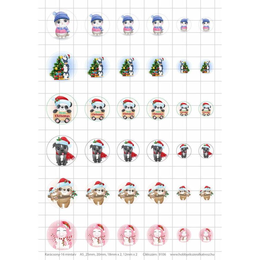 Karácsony-16 Üveglencsés ékszerpapír több méret A5
