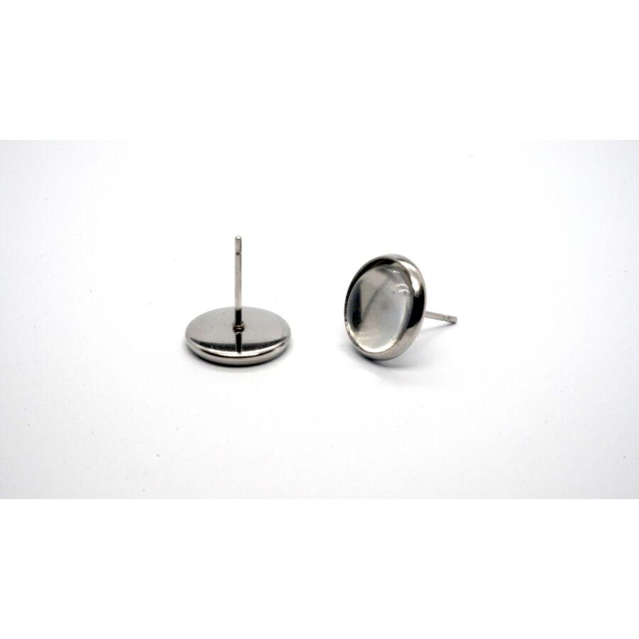 Nemesacél bedugós fülbevalóalap (10mm) hozzá tartozó üveglencsével