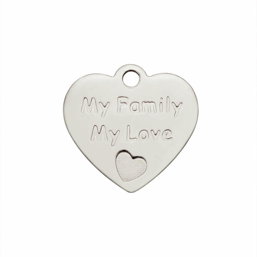 Nemesacél my family my love fityegő