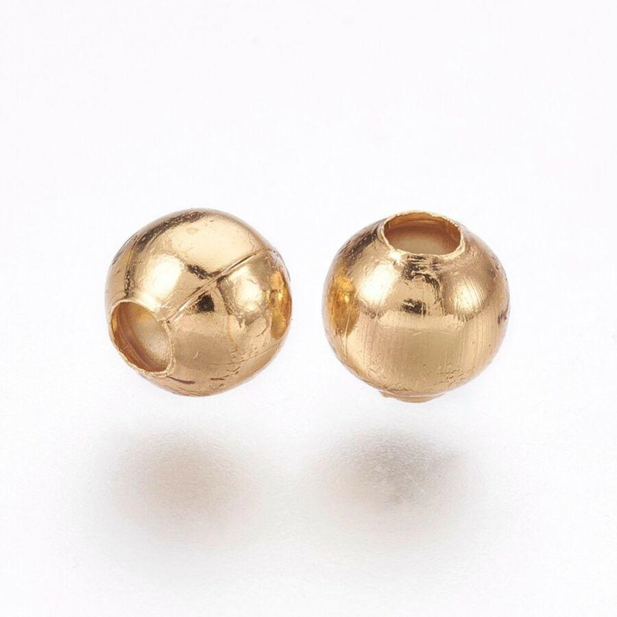 10db Arany színű nemesacél golyó alakú köztes (4x3mm)