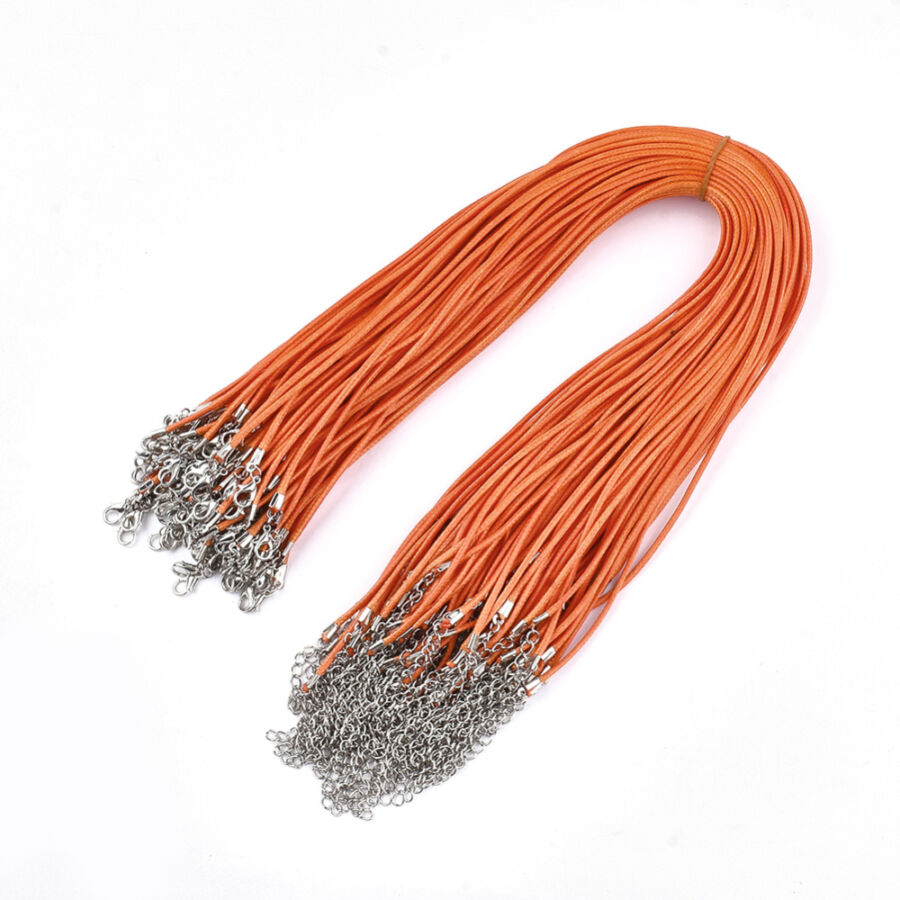 Narancssárga viaszolt zsinór nyaklánc
