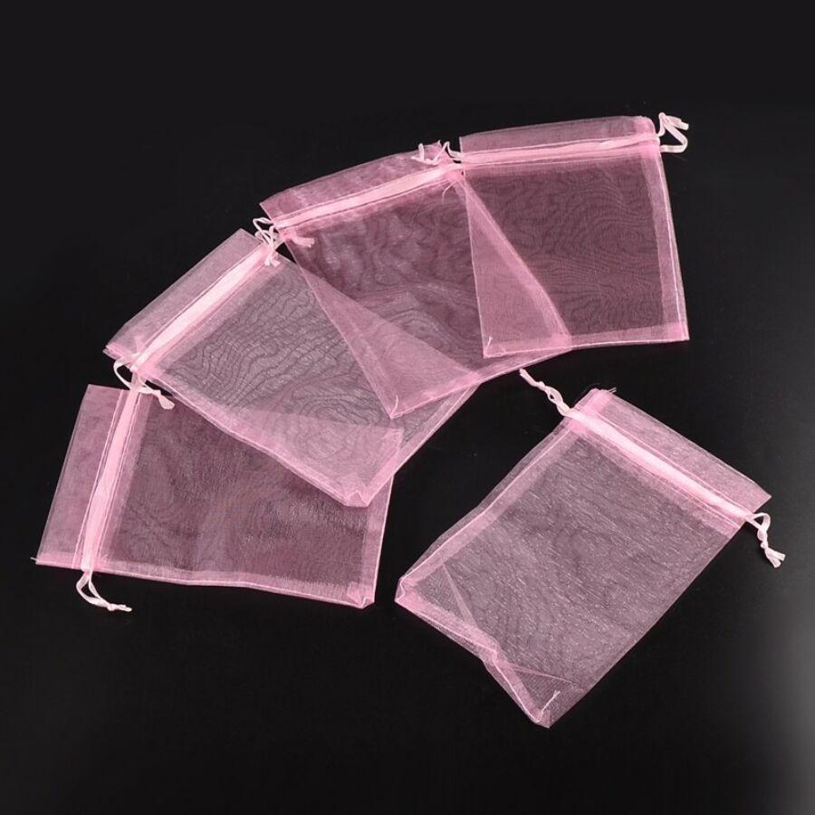 Rózsaszín organza tasak (9x7cm)