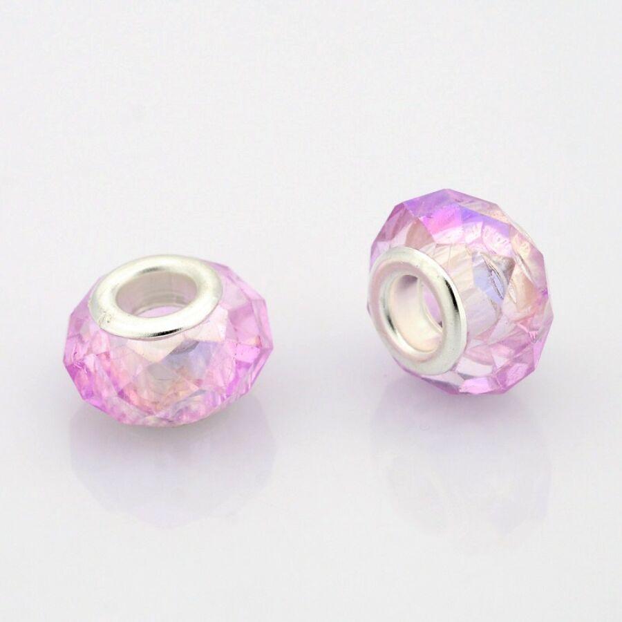 Halvány lila csiszolt pandora stílusú gyöngy (14x11mm)