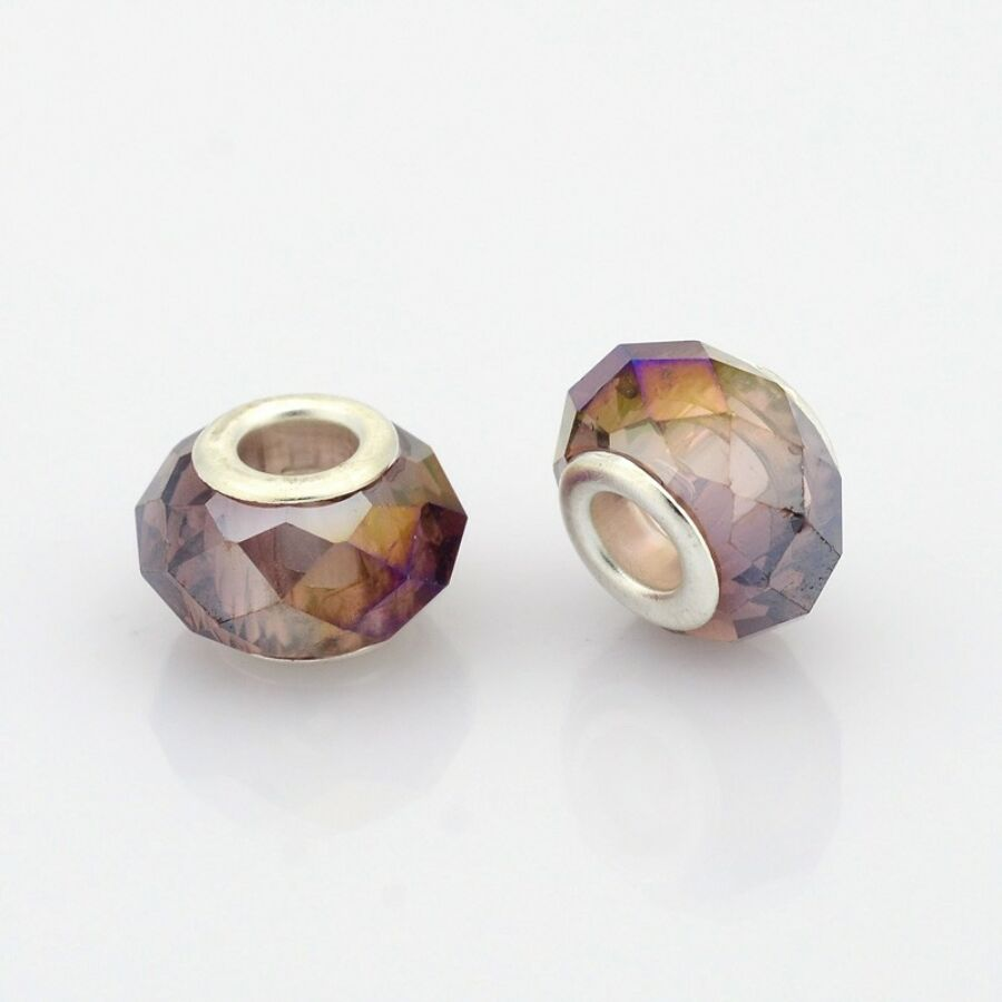 Halvány lila színű pandora stílusú gyöngy (14x9mm)