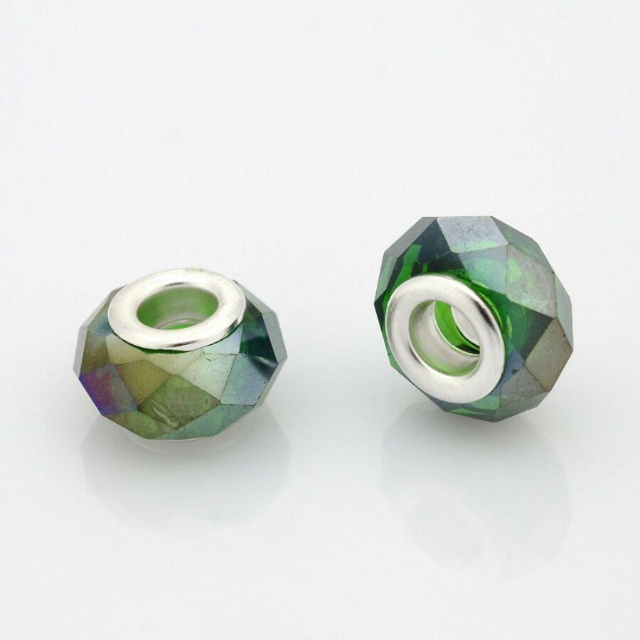 Zöld színű pandora stílusú gyöngy (14x9mm)