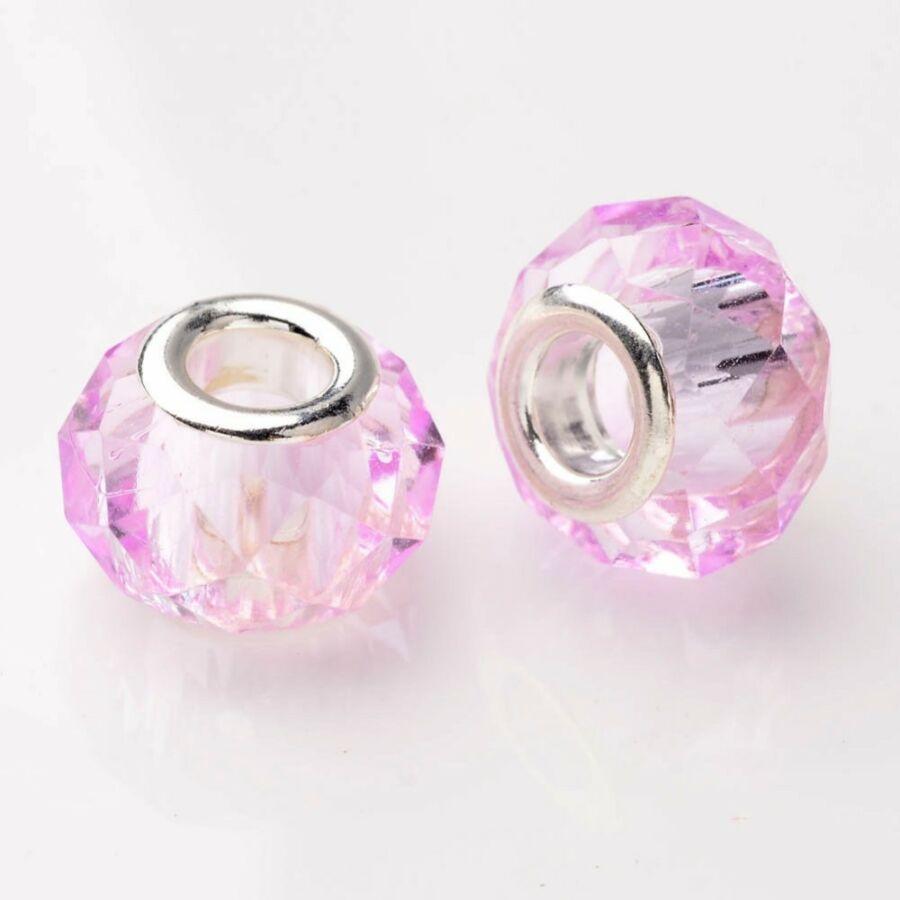 Rózsaszín csiszolt pandora stílusú gyöngy (14x11mm)
