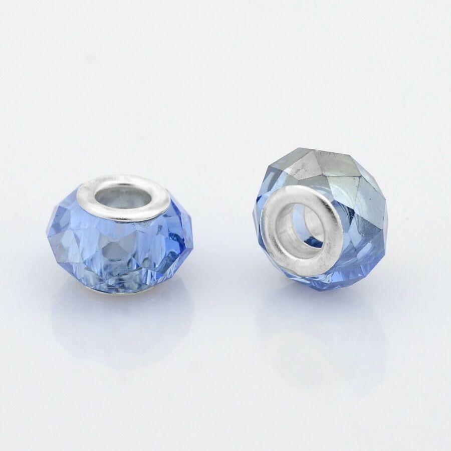 Világos kék színű pandora stílusú gyöngy (14x9mm)