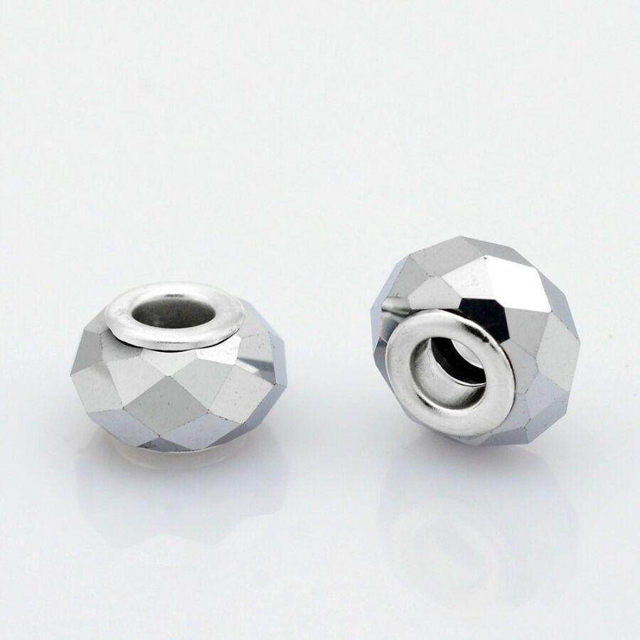 Ezüst színű pandora stílusú gyöngy (14x9mm)