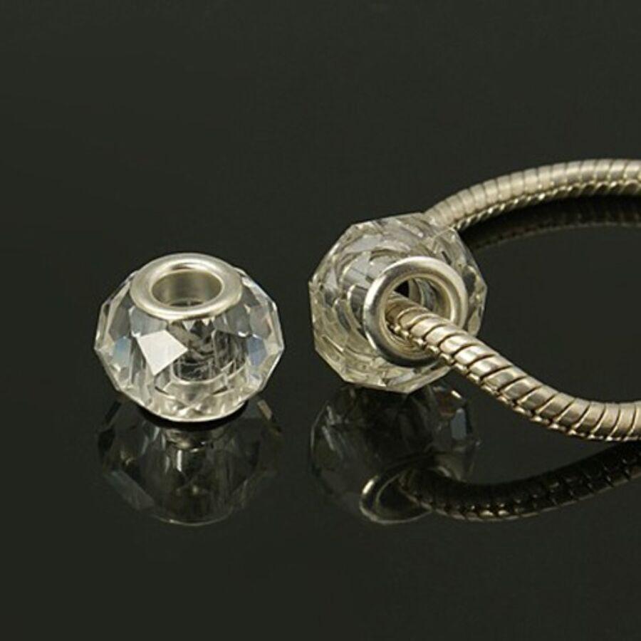 Áttetsző csiszolt pandora stílusú gyöngy (14x11mm)