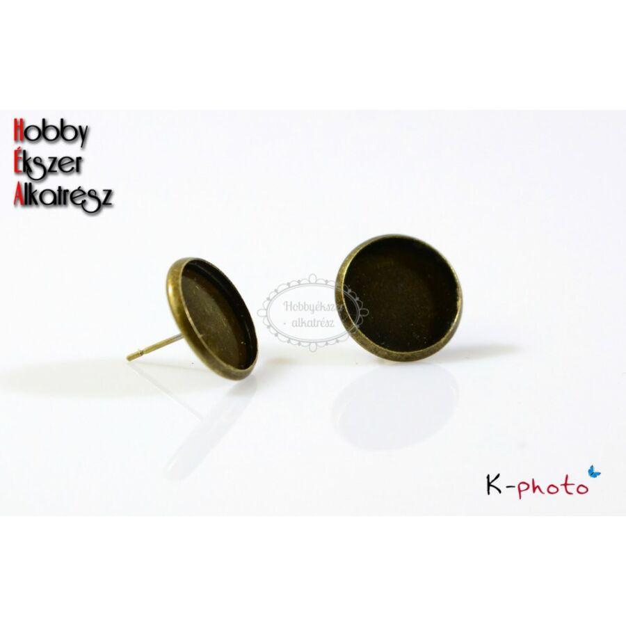 Antikolt bronz színű bedugós fülbevalóalap (14mm)