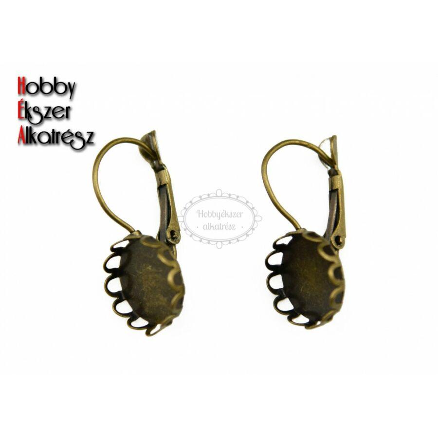 Antikolt bronz színű csipkés fülbevalóalap (12mm)