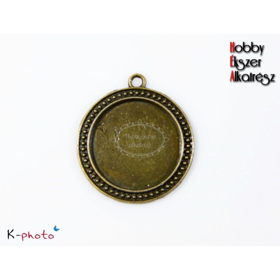 Antikolt bronz színű pöttyös medálalap (30mm)