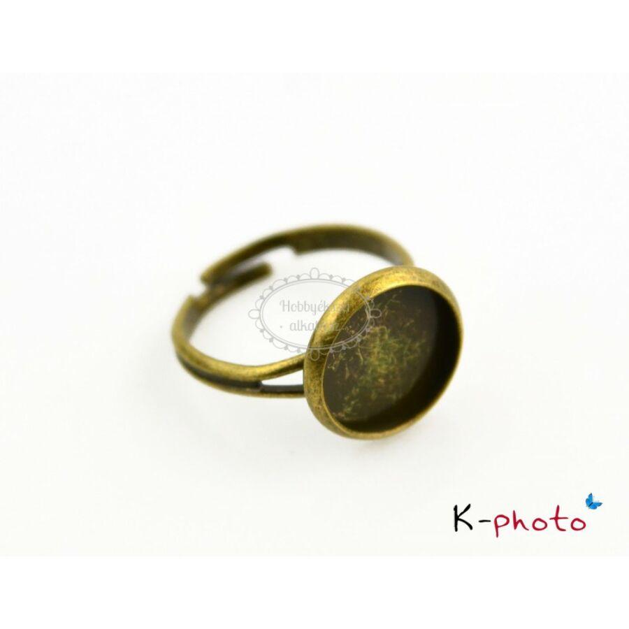 Antikolt bronz színű sima gyűrűalap (12mm)