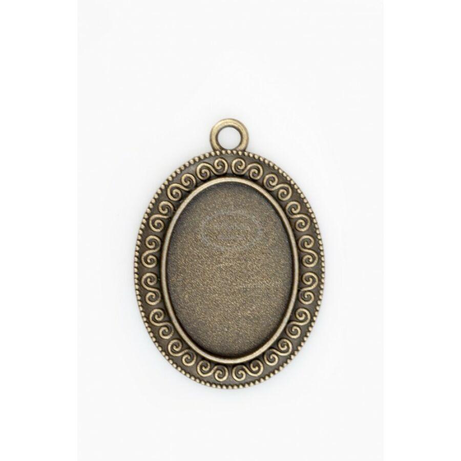Antikolt bronz színű csigavonalas medálalap (18x25mm)