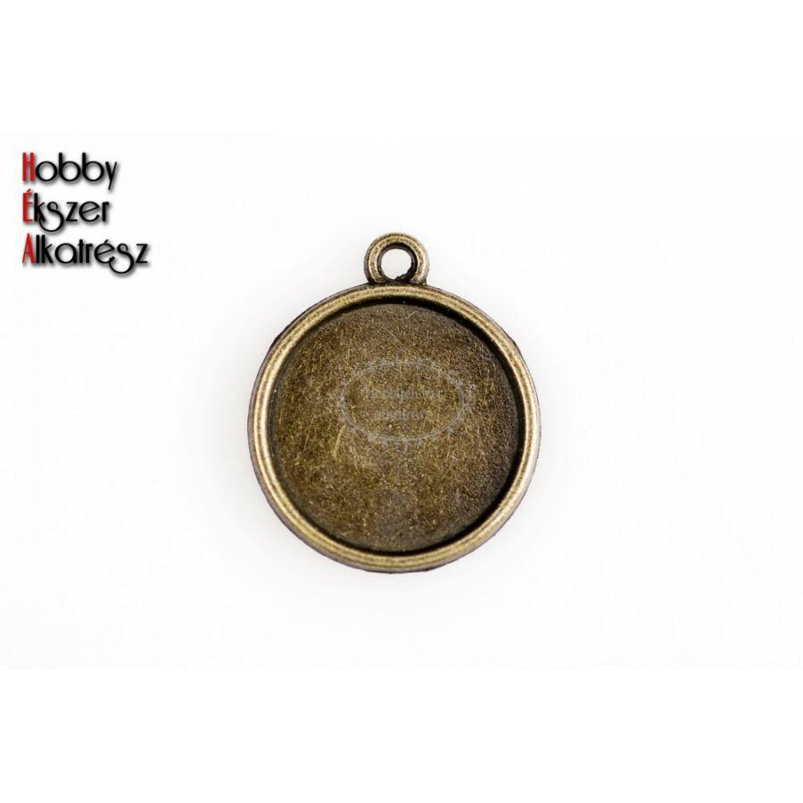 Antikolt bronz sima dupla oldalú medálalap (12mm)
