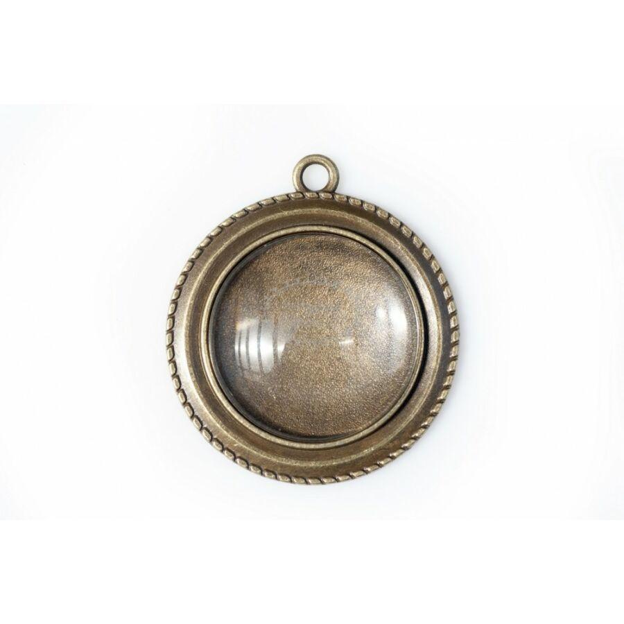Antikolt bronz színű, csavart szélű medálalap (25mm) hozzátartozó üveglencsével