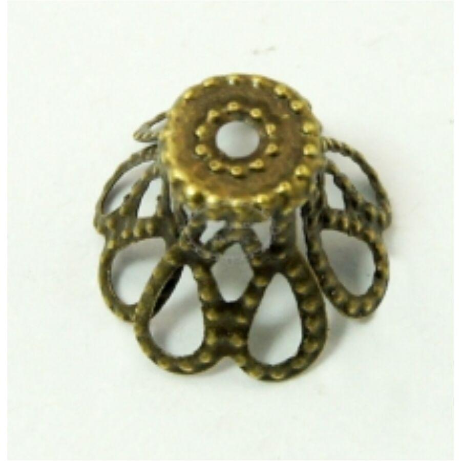 10db Antikolt bronz színű csúcsos gyöngykupak