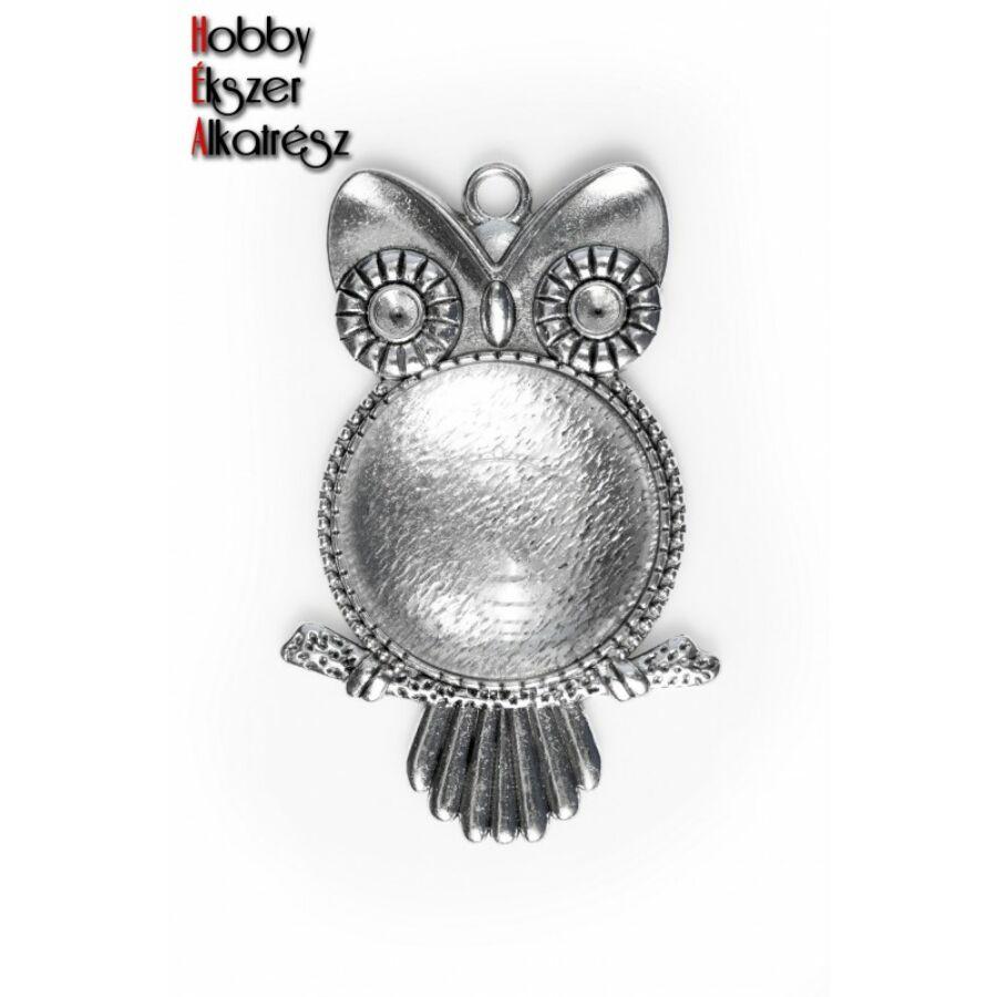 Antikolt ezüst színű baglyos medálalap (25mm) hozzátartozó üveglencsével