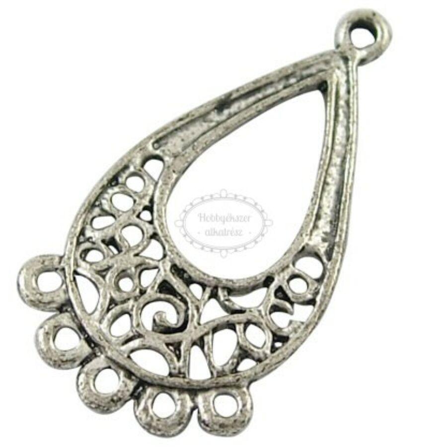 Antikolt ezüst hosszúkás csepp fülbevalóalap/kapcsolóelem