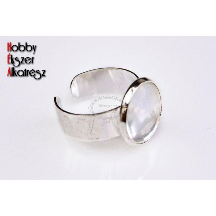 Ezüst színű sima szélű gyűrűalap (14mm) hozzátartozó üveglencsével