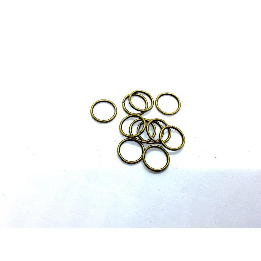 10db antikolt bronz színű szimpla vastag szerelőkarika (10mm)