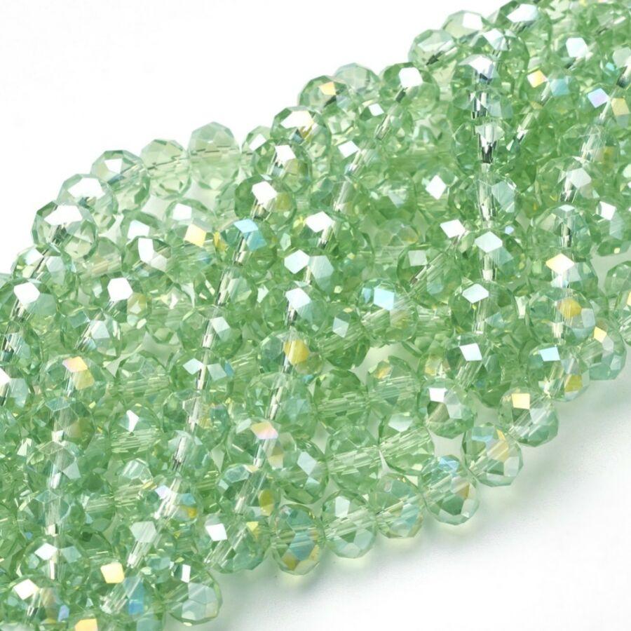 10db Csiszolt világos zöld üveggyöngy (8x5mm)
