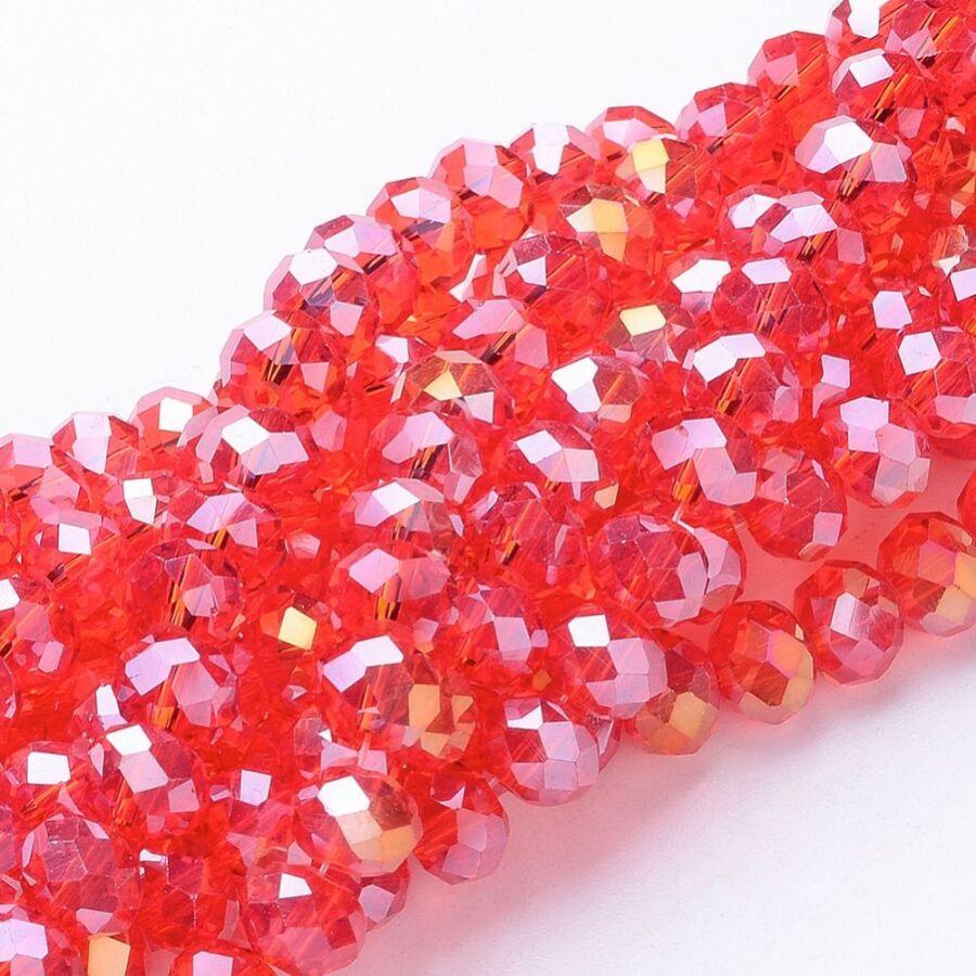 10db Csiszolt piros üveggyöngy (8x5mm)