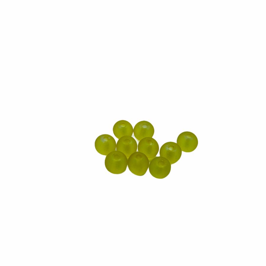 10db műanyag matt sárga gyöngy (6mm)