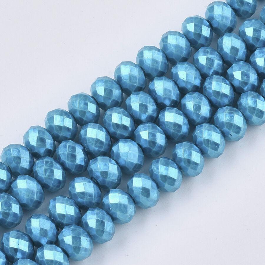 10db Csiszolt türkiz üveggyöngy (8x6mm)