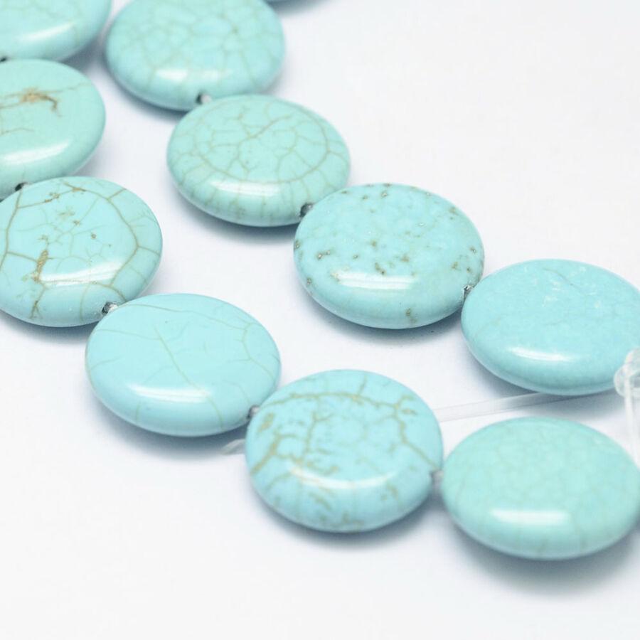 Türkiz lapos ásvány medál (14mm)