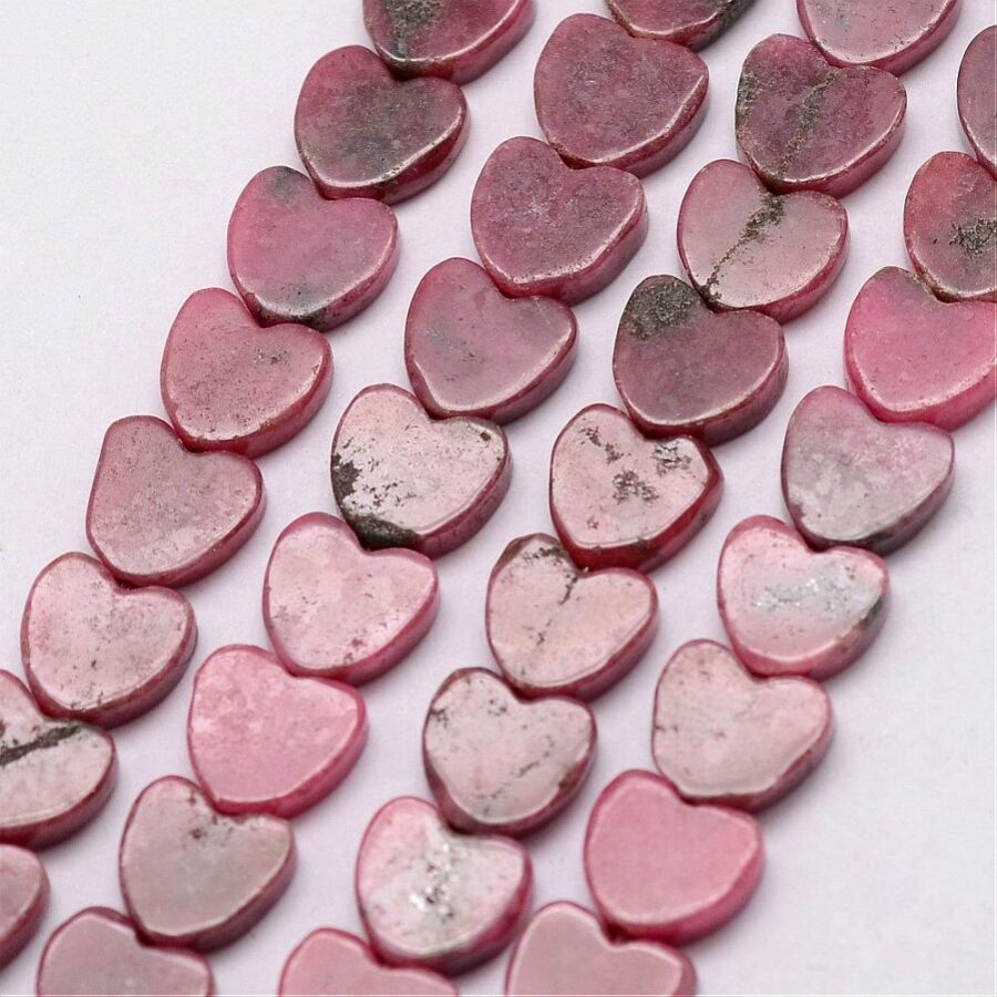 Rodonit szív alakú ásványgyöngy (9mm)