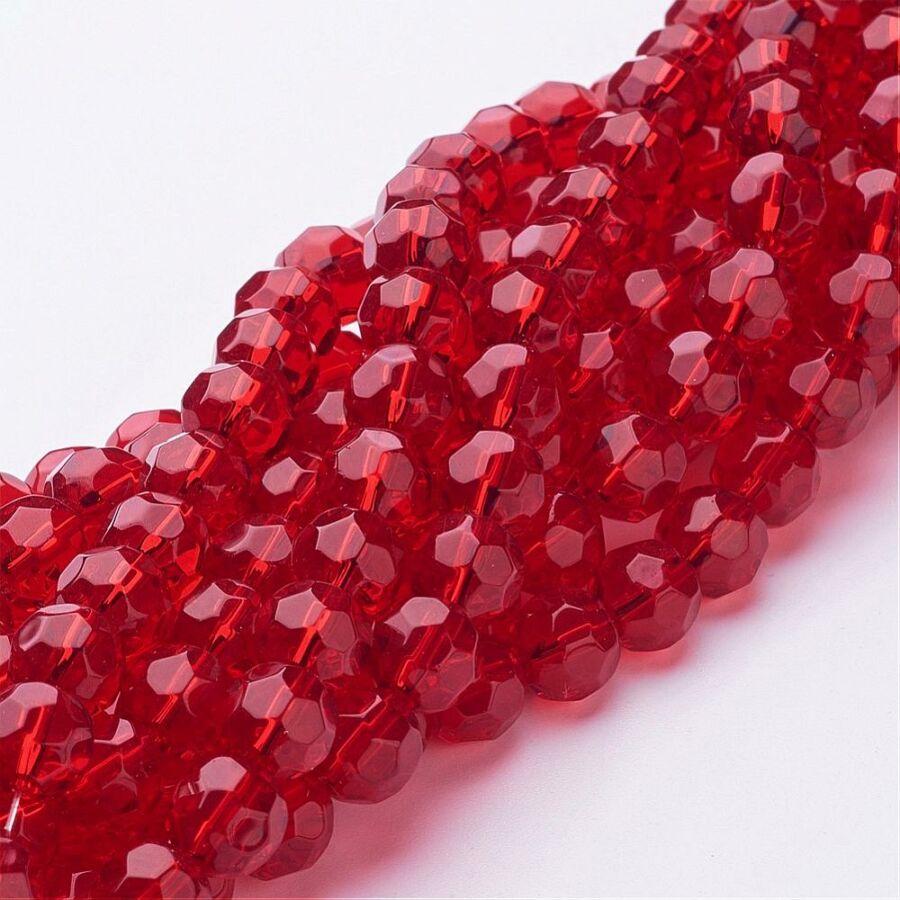 10db Piros színű csiszolt üveggyöngy (8mm)