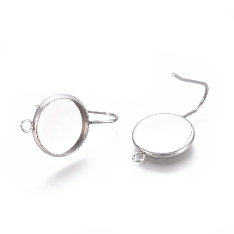 Nemesacél beakasztós tovább építhető fülbevaló alap (12mm)