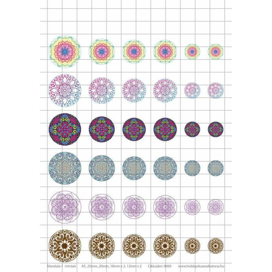 Mandala-1 Üveglencsés ékszerpapír több méret 6 féle minta A5