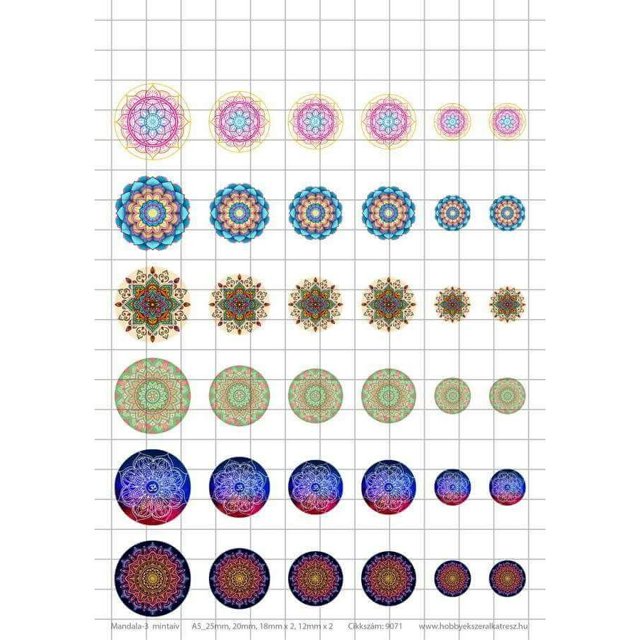 Mandala-3 Üveglencsés ékszerpapír több méret 6 féle minta A5